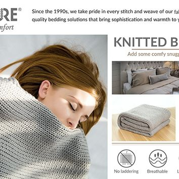 "Knitted Throw Blanket for Sofa and Couch, Lightweight, Soft & Cozy Knit Throws - Light Grey, 50""x60"" by Bedsure"