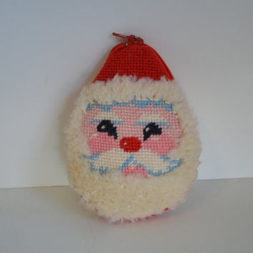 Vintage, Handmade, Needlepoint, Santa Coin Purse.