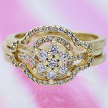 Gold Layered Women Flower Wedding Ring, with White Cubic Zirconia, by Folks Jewelry