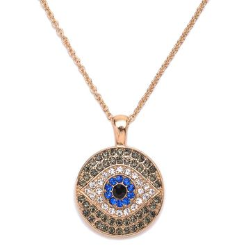 1pc boho charms crystal evil eyes round gold fill pendant necklace collar ethnic women jewelry