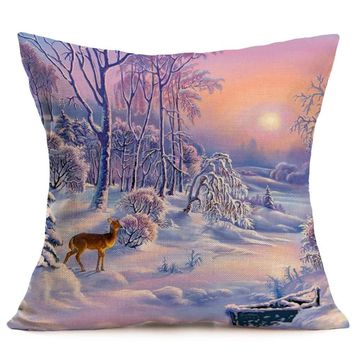 Deer in Winter Wonderland Decorative Cushion Throw Pillow Cover