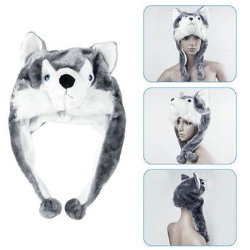 DCCKL3Z Cartoon Animal style Hood Wolf Hat Hoods Beanies Cute Fluffy kids Caps Soft Warm Scarf Earmuff Plush Huskies Hats 2016 Hot Sale