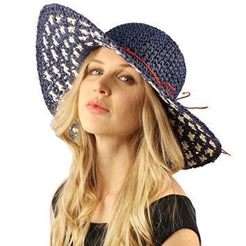 Cool Soft Crochet USA Flag Colors Packable Floppy Wide Brim Summer Sun Hat Navy