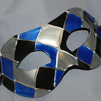 Royal Blue, Black and Silver Harlequin Mask