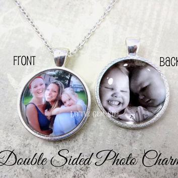 Custom Photo Jewelry Double Sided Necklace OR Key Chain - Personalized Picture Jewelry - Photo Charm - Mothers Day Jewelry Mom Nana Mimi