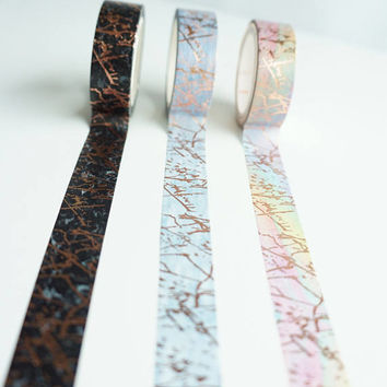 Marble Collection - volume 1 - black, rainbow, and slate grey marble with rose gold veining washi tape set