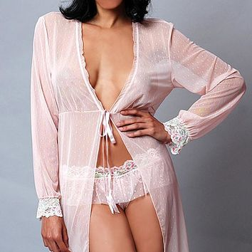 Short Pink Dotted Mesh Robe w/Lace Trim (Small-4X)