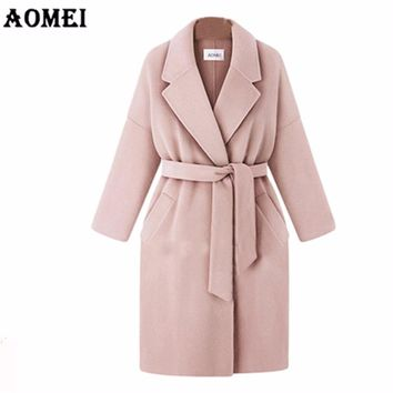 Women Winter Wool Coats Pink Gray Wear to Work Office Lady Outwear with Sashes Clothing 2017 New Fall Autumn Overcoat Cape