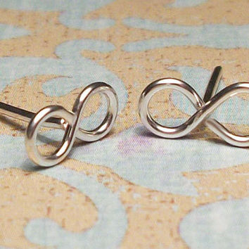 Infinity Stud Earrings in Sterling Silver by wirewrap on Etsy