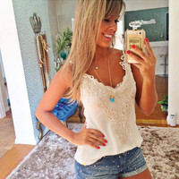 Lace Sleeveless Halter Top