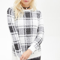 FOREVER 21 Plaid Fuzzy Knit Sweater Cream/Black