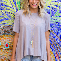 Back To Basic Baby Doll Top- TAUPE
