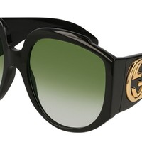 Gucci GG 0151 S- 001 BLACK / GREEN Sunglasses