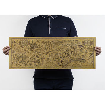 Harry Potter Magic World Map Famous Kraft Paper