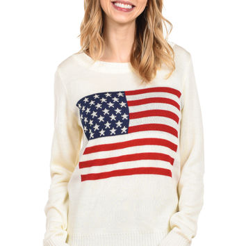 Women's Cream American Flag Sweater