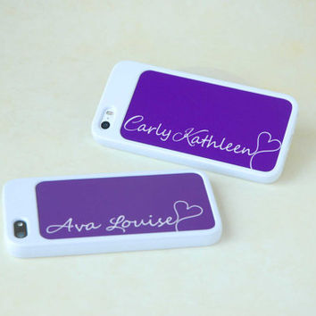 Personalized Phone Case, Gift for Best Friend, Matching Purple + White iPhone Cases, Silicone iPhone Cases