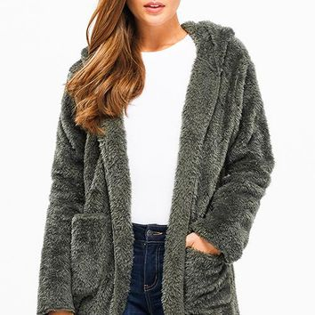 Hooded Fuzzy Fleece Jacket