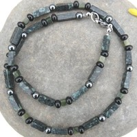 Jasper Hematite and Onyx Mens Gemstone Choker Necklace €25.00