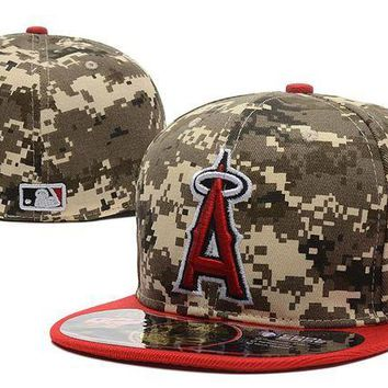 ONETOW Los Angeles Angels of Anaheim 59FIFTY MLB Baseball Cap Cool Base Camouflage