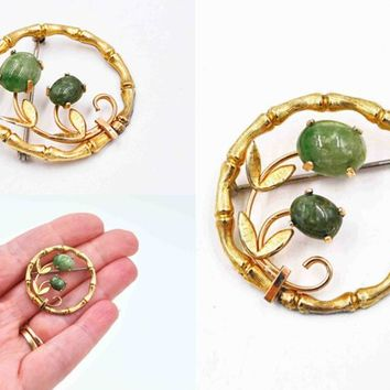 Vintage Krementz Bamboo Jade Circle Brooch, 14K Rolled Gold, Gold Filled, Green Jade, Floral, Leaves, Asian Influence, Nice! #c515