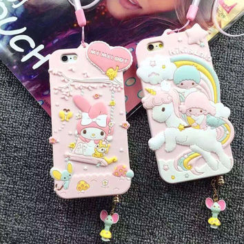 Luxury 3D Cute My Melody Little Twin Stars Silicon Soft Case Capa Para Cover For iPhone 6 6S 6 Plus With Dust plug strap