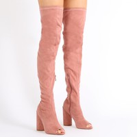 Jana Over the Knee Peeptoe Boots in Rose Faux Suede