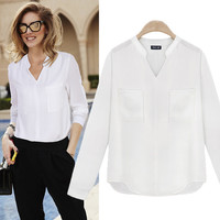 2016 Spring Summer Casual V-Neck Chiffon Loose Design Women White Shirt