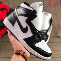 NIKE Air jordan 1 Air Force New fashion high top sports running breathable splice couple shoes