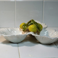 Fruit Bowl, 3 Section Treasure Craft Pottery, Made in USA, Pottery, Lemons on White Ceramic FREE US Shipping