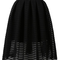 Black Sheer Stripe Skater Midi Skirt