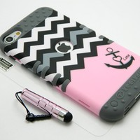 New 3-piece Impact Hybrid Combo Hard Case Cover For iPod Touch 5th Generation Chevron Anchor Soft Skin With Screen Guard and Stylus Pen