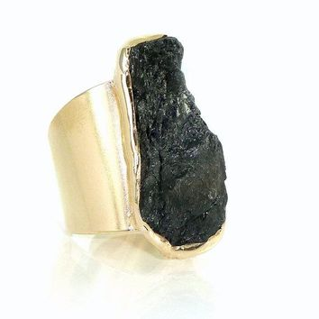 Raw Black Tourmaline Ring, Unique & Hand Made