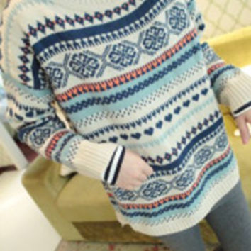 Off-White Ethnic Pattern Argyle Long Sleeve Sweater