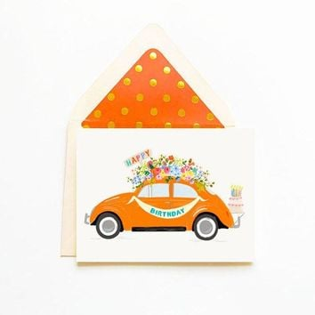 THE FIRST SNOW HAPPY BIRTHDAY ORANGE BUG CARD