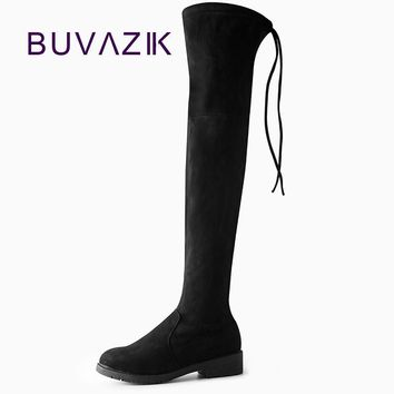 Women Boots 2017 Autumn Winter Ladies Fashion Slim Flat Heel Leather Shoes Over The Kn