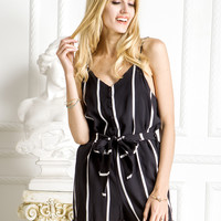 Black Stripe Button Front Tie Waist Cami Romper Playsuit