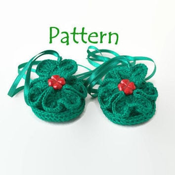 PATTERN First st patricks day St patricks crochet Crochet shamrock Green crochet baby sandals Crochet baby flip flops Crochet baby shoes