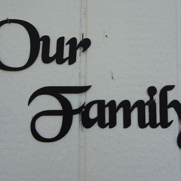 Our Family Words BC Font Decorative Metal Wall Art
