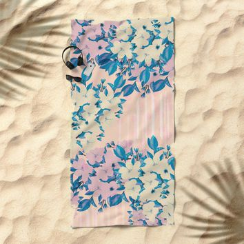 Pink Floral Beach Towel by NaturalColors