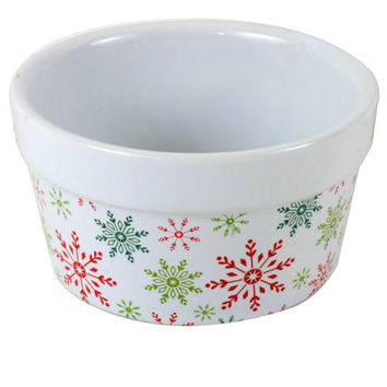 Celebrate It® Ceramic Ramekin, Snowflakes, Red & Green