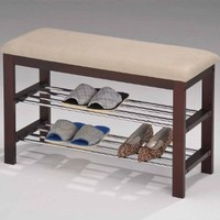 Kings Brand Walnut / Beige Vinyl With Chrome Shoe Rack Organizer & Bench