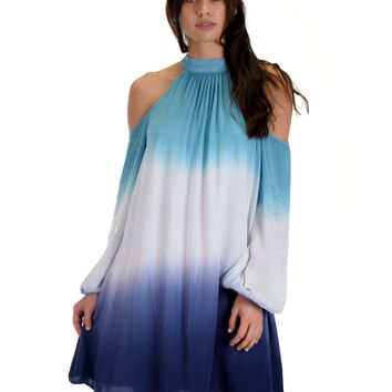 SL3935 Blue Long Sleeve Cold Shoulder Two Tone Ombre Tie Dye Dress