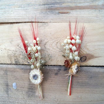 SET OF 2 SMALL boutonniere, wedding boutonniere, flower boutonniere for weddings, keepsake wedding, dried flowers, rustic wedding