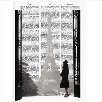 Vintage Dictionary Paper - Paris Eiffel Tower Dictionary Art Print
