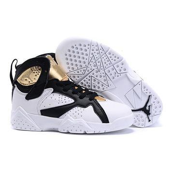 Nike Jordan Kids Air Jordan 7 Retro White/Black/Gold Kids Sneaker Shoe US 11C - 3Y