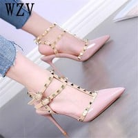 2018 NEW woman High heels shoes Ladies Sexy Pointed Toe women pumps Buckle rivets nude heels shoes free shipping F123