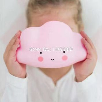 Novelty Pink Blue Cloud Smile Face Led Night Light Childrens Bedroom Nursery Night Lamp Mini Cloud Light Emitting Children Rooom