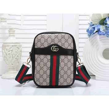 Gucci Popular Women Leather Red Green Stripe Shoulder Bag Crossbody Satchel Handbag(6-Color) Black I-KSPJ-BBDL