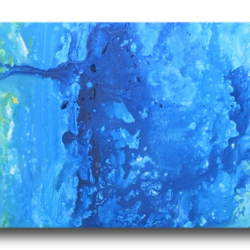 Abstract art canvas painting blue green