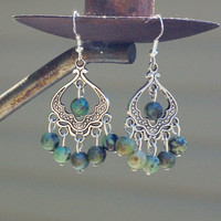 African Turquoise Chandelier Earrings ~ Boho Jewellery ~ Tibetan Silver Turban ~ Anniversary Gift ~ Birthday Gift ~ Natural Stone